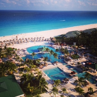 A picture taken by me of the view of our hotel at the Iberostar resort in Cancun,Mexico.