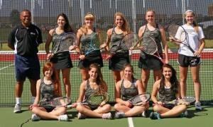 The 2015 Varsity Girls Tennis team with Coach Nevels