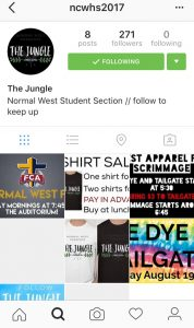 The Instagram page for the Normal West student section. Photo credit: Essence Lewis