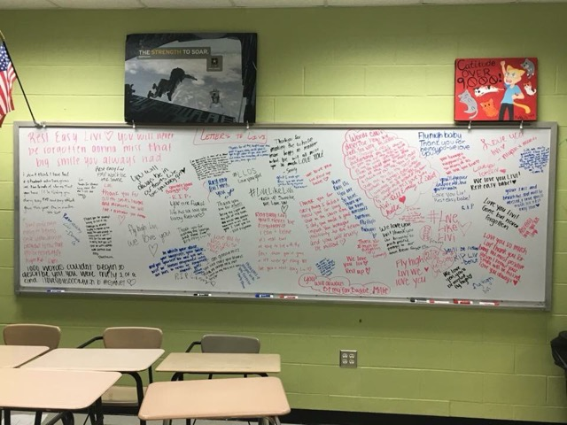 Normal West English teacher Mr. Rumps has been letting students write letters to Livi Sonetz, who passed away this last Wednesday. This is one of the many ways students have been grieving and coping with the loss of their fellow Wildcat.